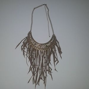Fringe gold and brown necklace
